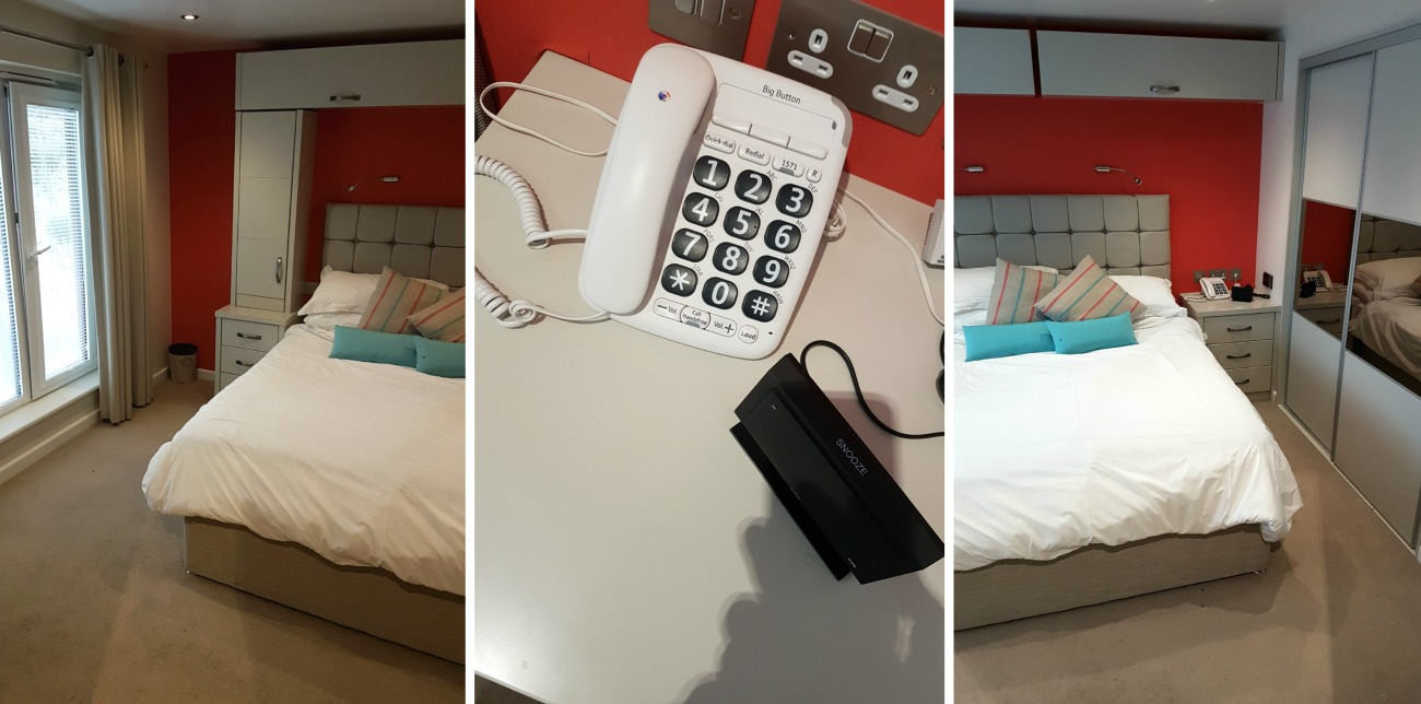 Space at each side of the bed for wheelchair transfers and big button telephone