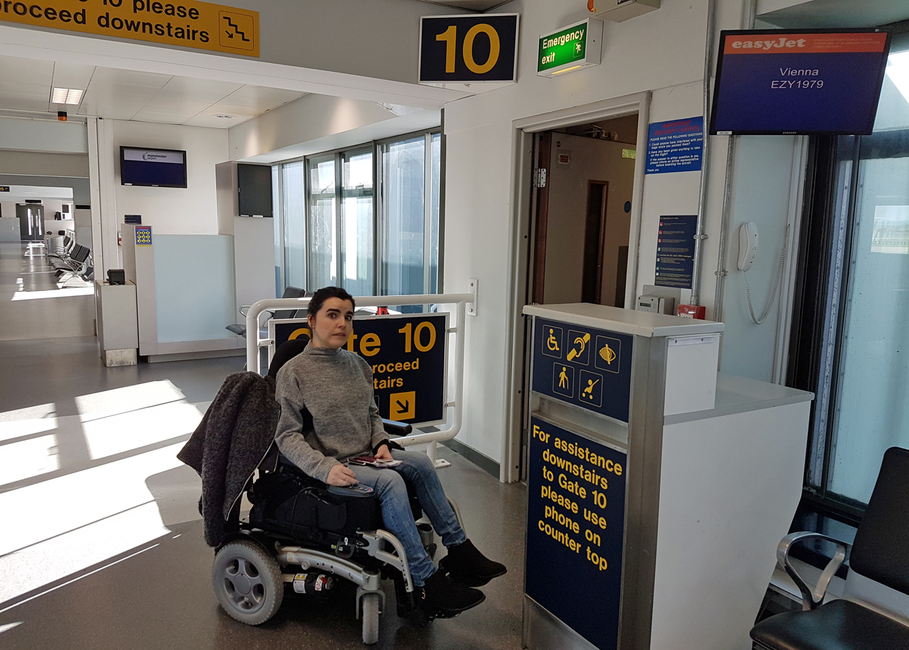 Vienna Photo Diary Manchester Airport wheelchair user at boarding gate