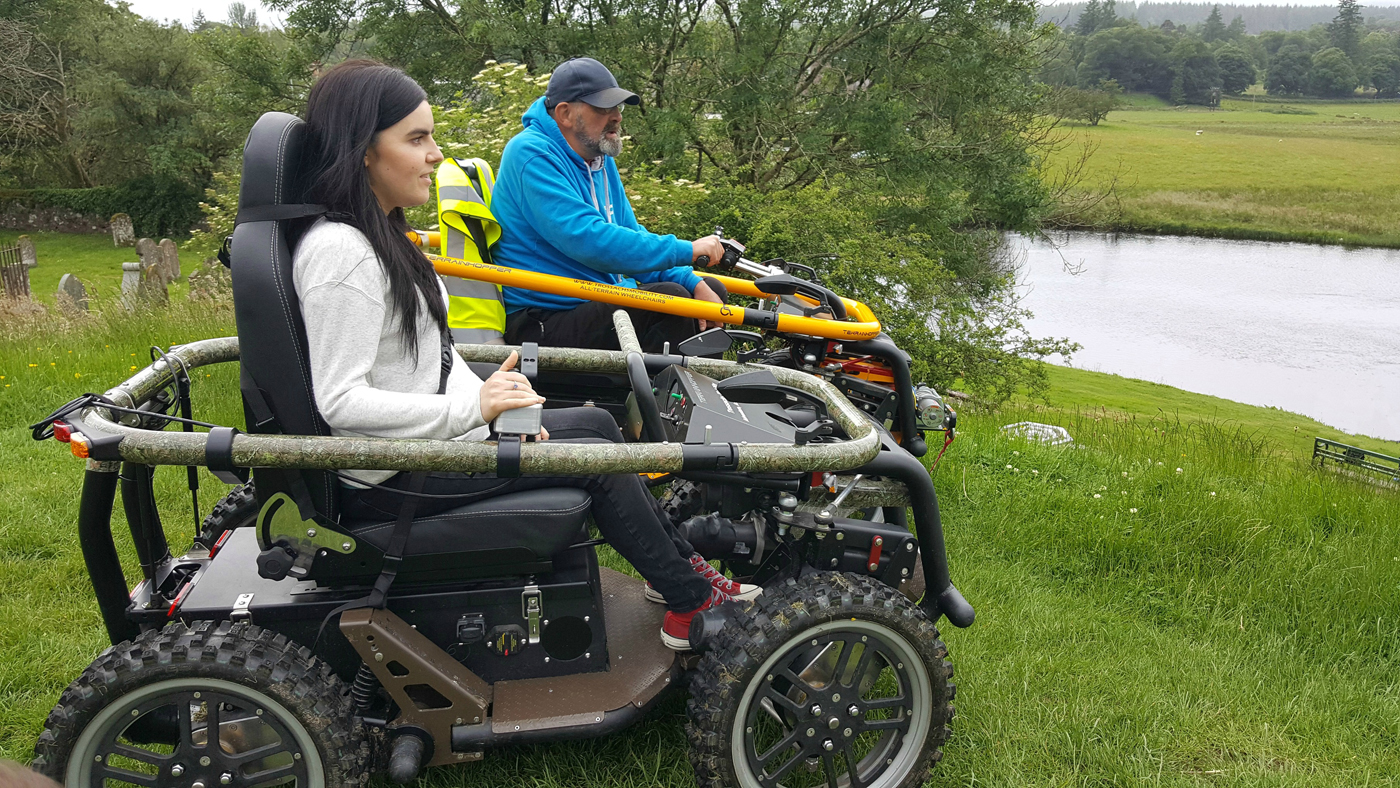 simply emma with Gordon from Trossachs Mobilitysco Ramblers callander all-terrain-wheelchair