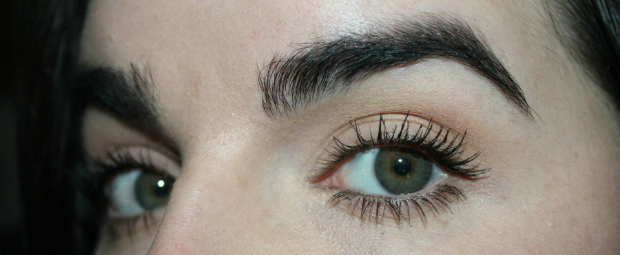 A close up of Emma's eye with Benefit Roller Lash Mascara.