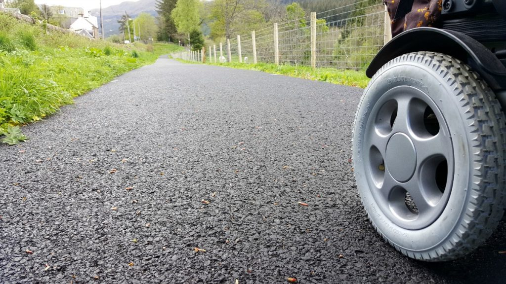Accessible Scottish Walks Strathyre-wheelchair wheel on smooth path surface