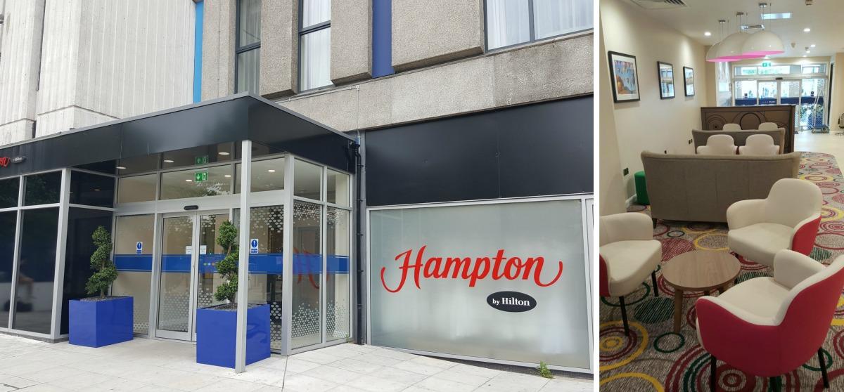 hampton by hilton bristol city centre entrance exterior reception lobby