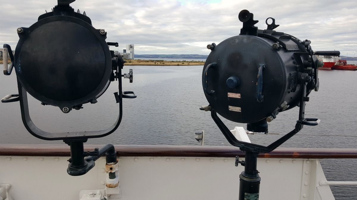 the-royal-yacht-britannia-search-lights-and-view-of-leith-docks