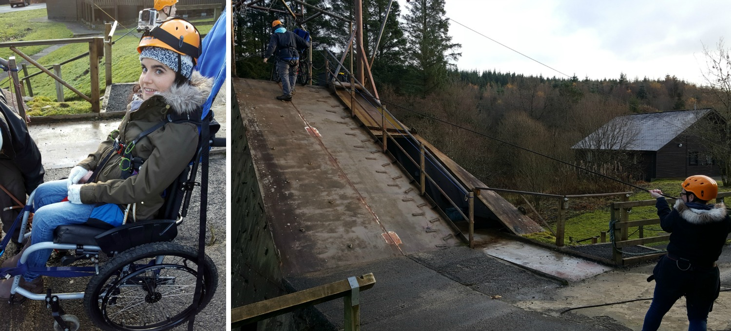 Calvert Trust Kielder pulling wheelchair to top of abseil tower