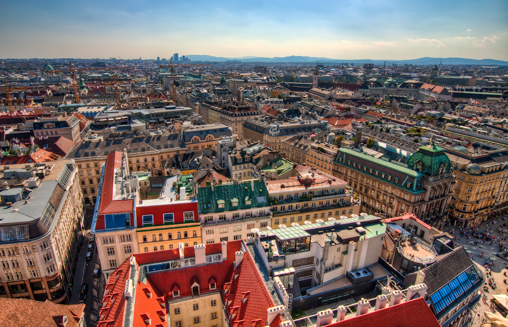 An aerial view of colourful building in Vienna on a sunny day: 3 Days in Vienna Ultimate City Guide to Vienna