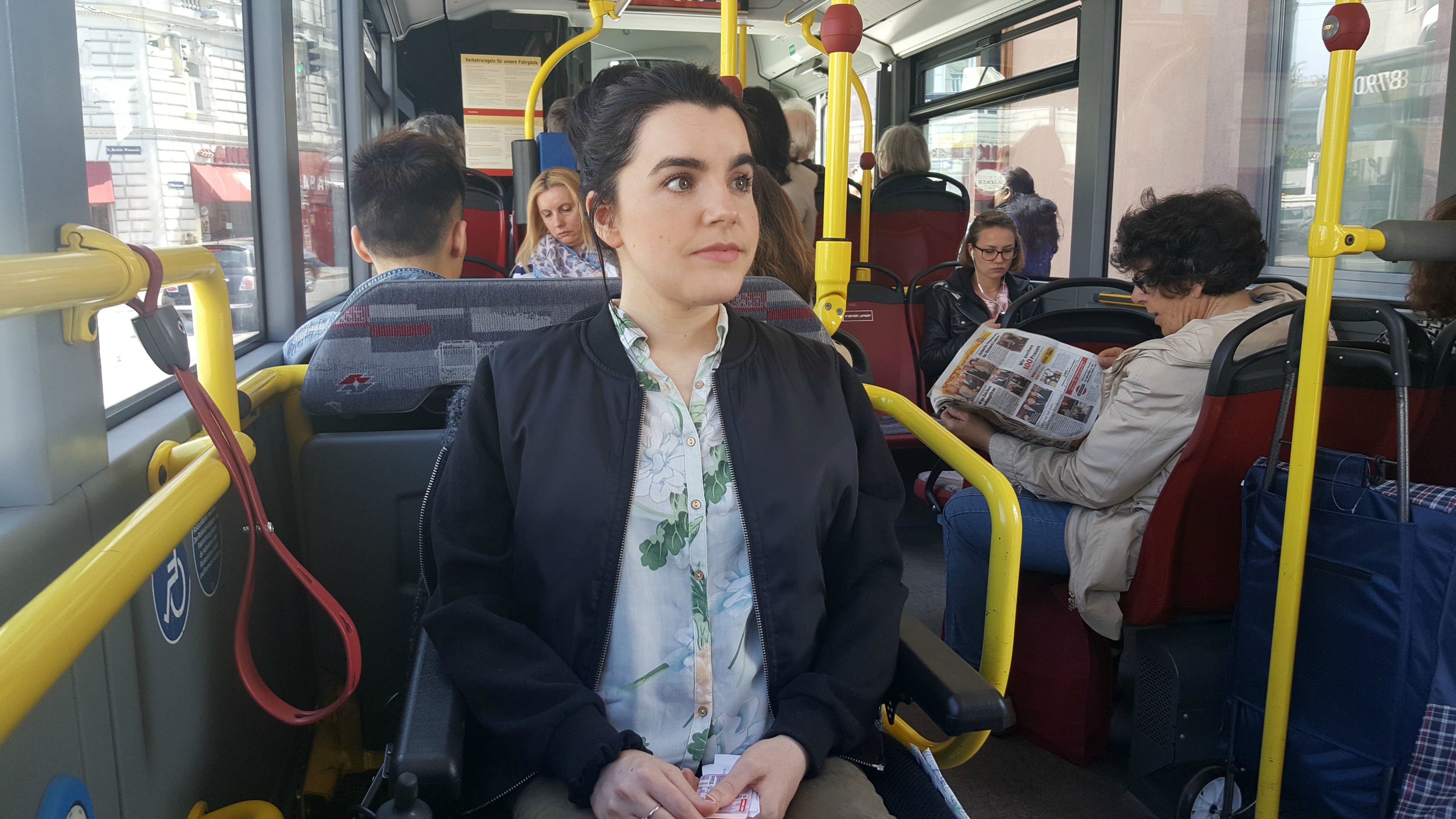 wheelchair user on vienna bus autobus