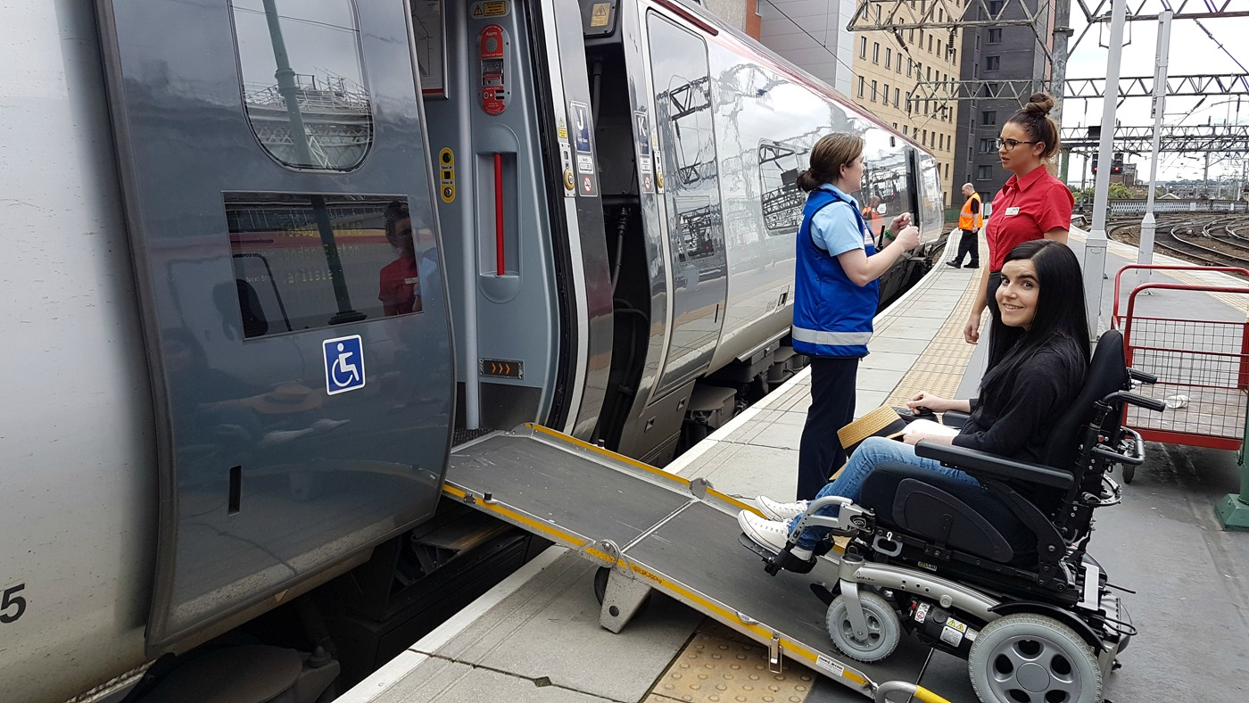 Virgin Trains Wheelchair access onboard Glasgow Central Station