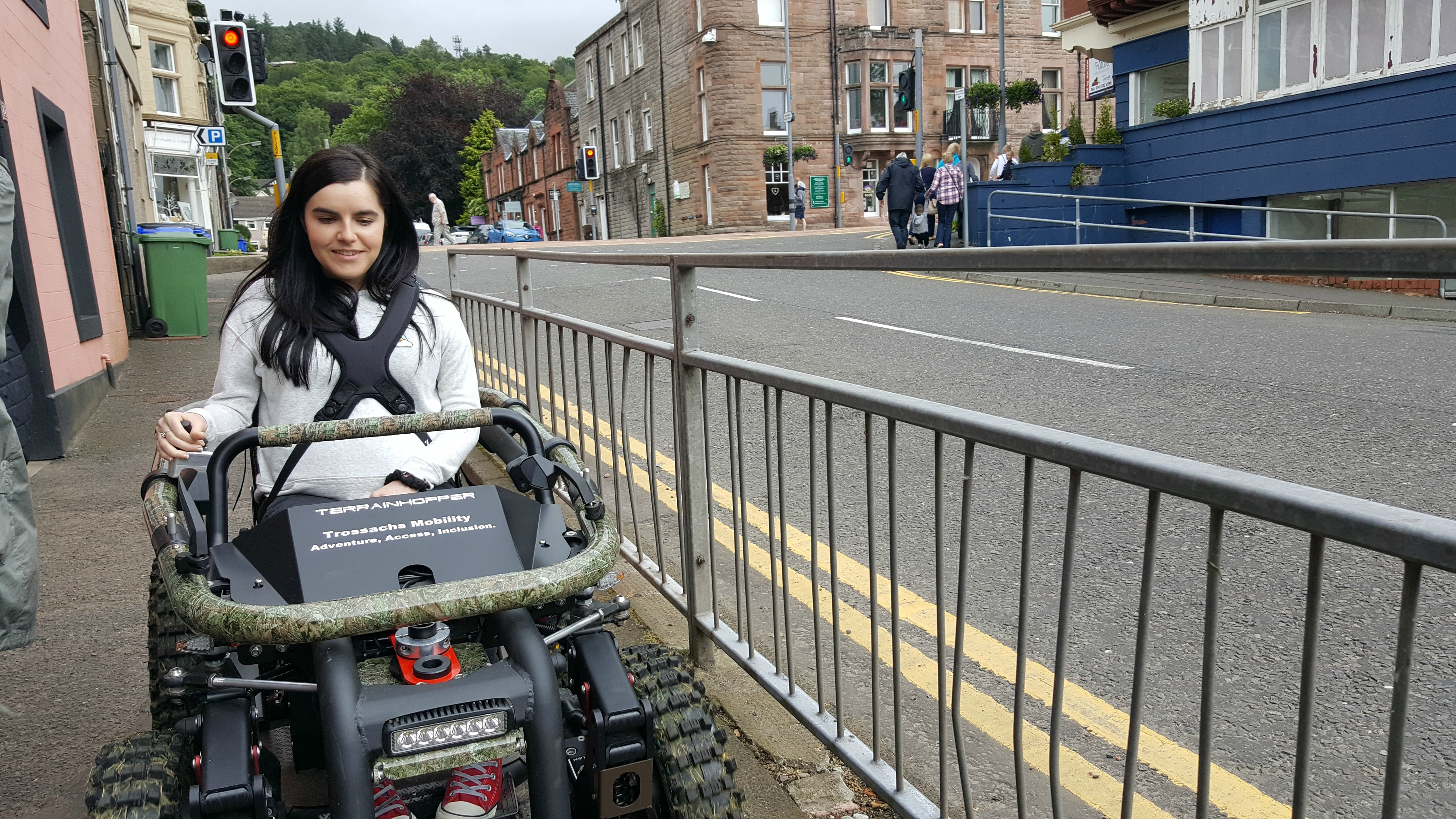 simply emma driving all-terrain-wheelchair in callander