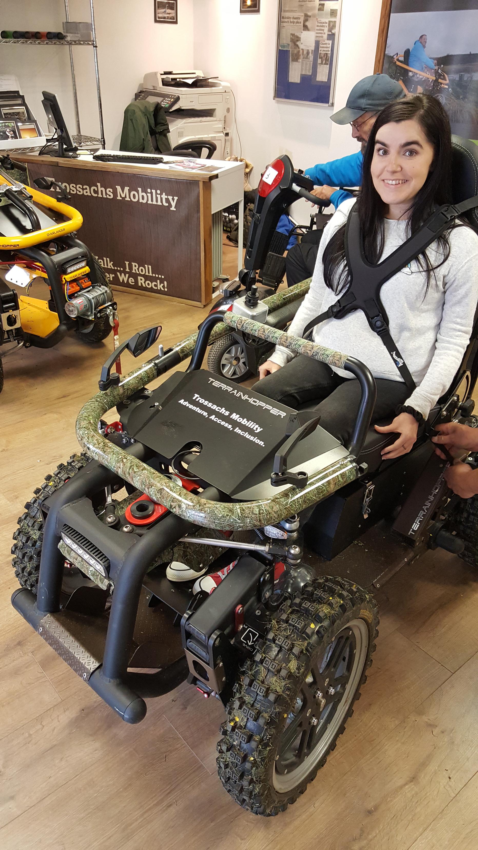 simply emma sitting in all-terrain-wheelchair callander