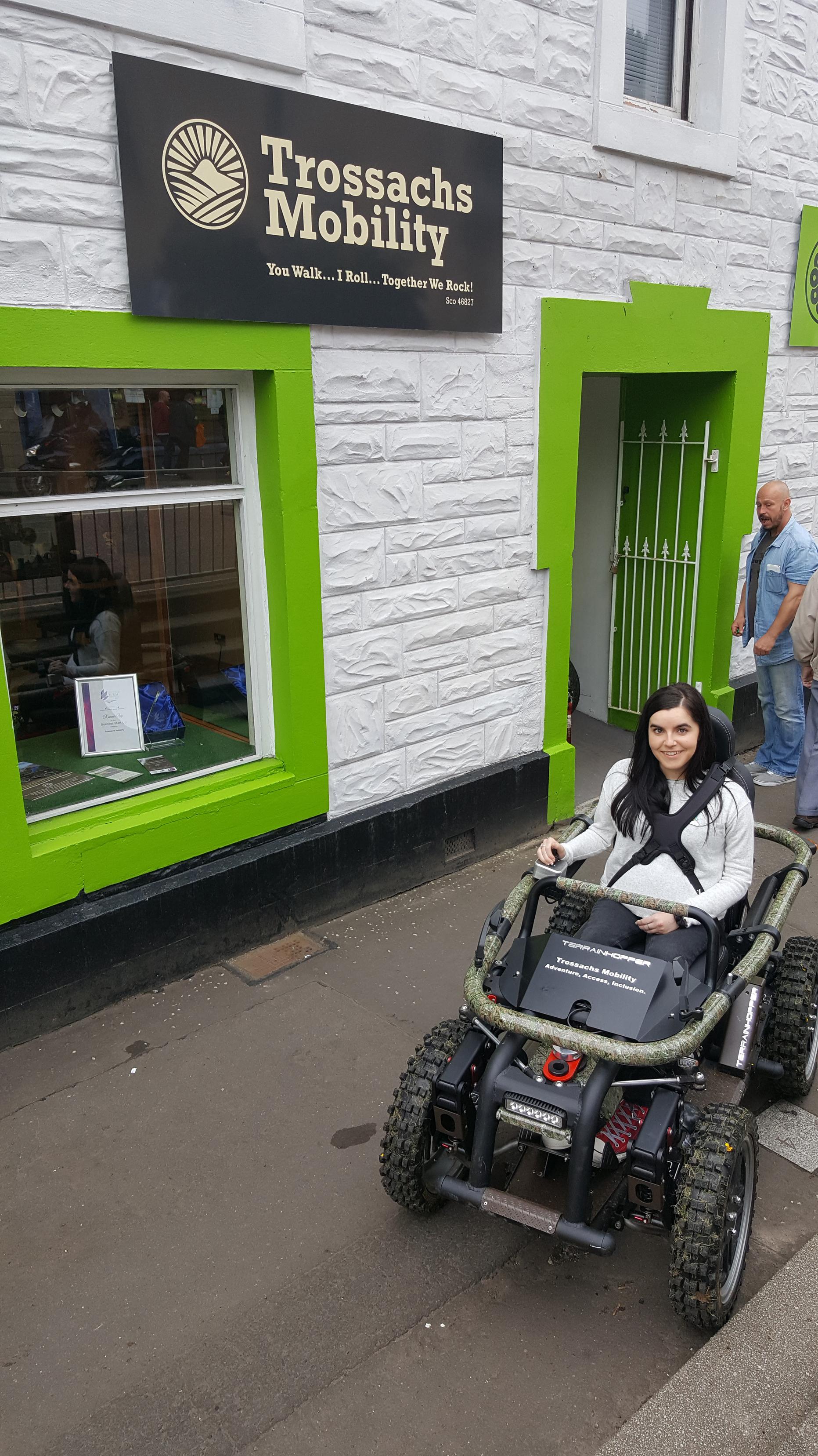simply emma sitting in all-terrain-wheelchair in callander