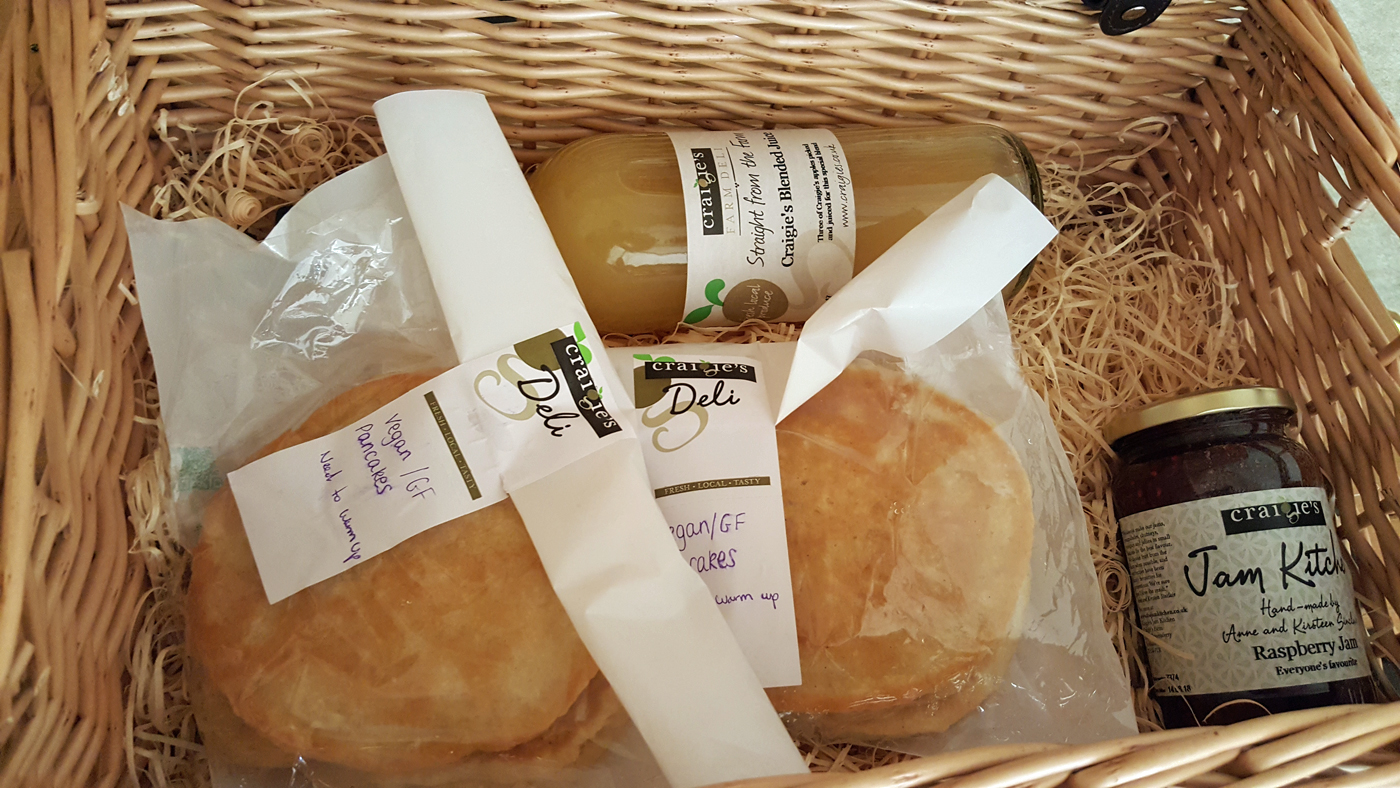 Glampotel Dundas Castle vegan food hamper from Craigies farm