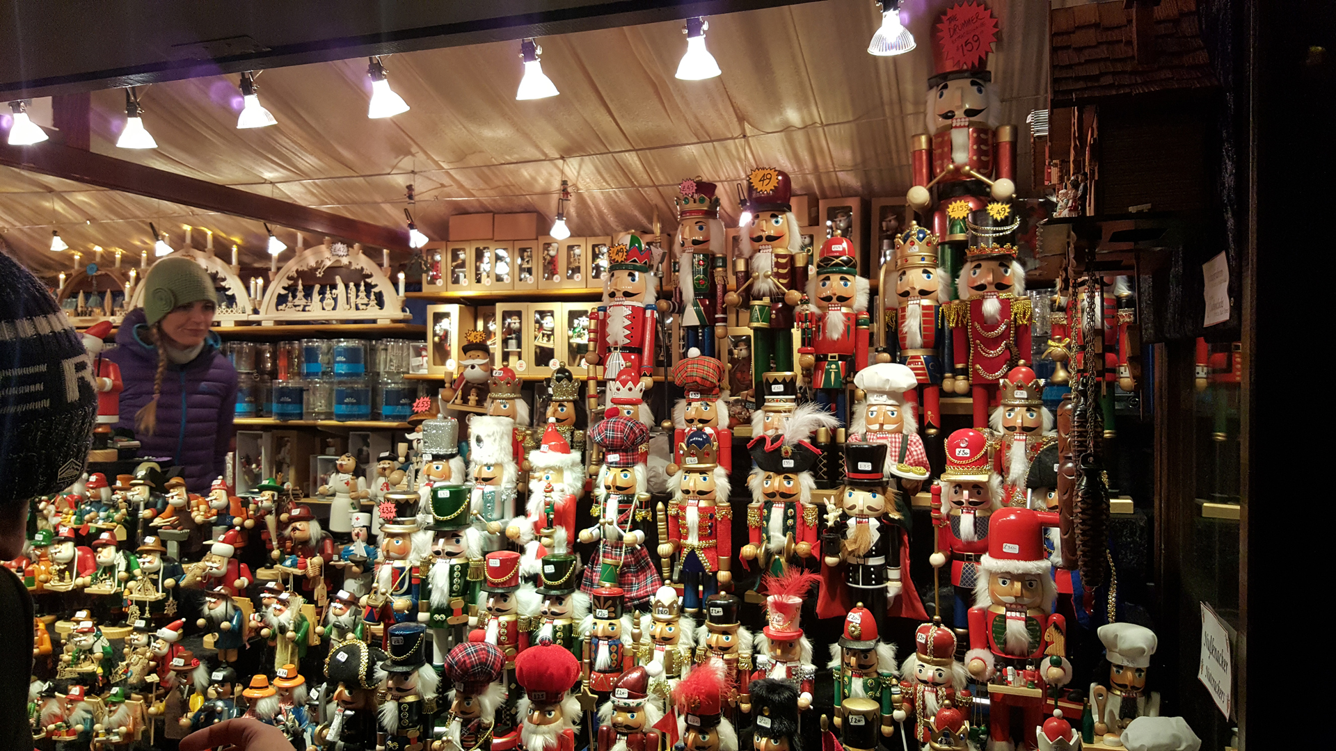 Edinburgh's Christmas market stalls with toy soldiers and Russian dolls.