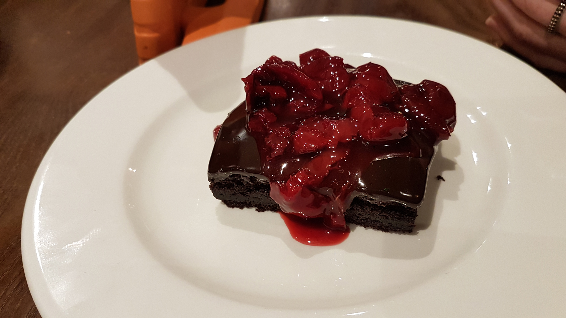 Delicious Morello cioccola dessert (vegan and gluten free) at Bella Italia Hanover Street restaurant during Edinburgh's Christmas.