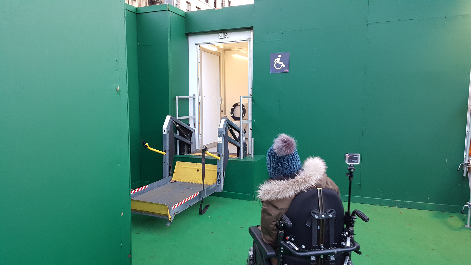 Accessible toilet at Edinburgh's Christmas Ice Skating at St Andrews Sqaure.