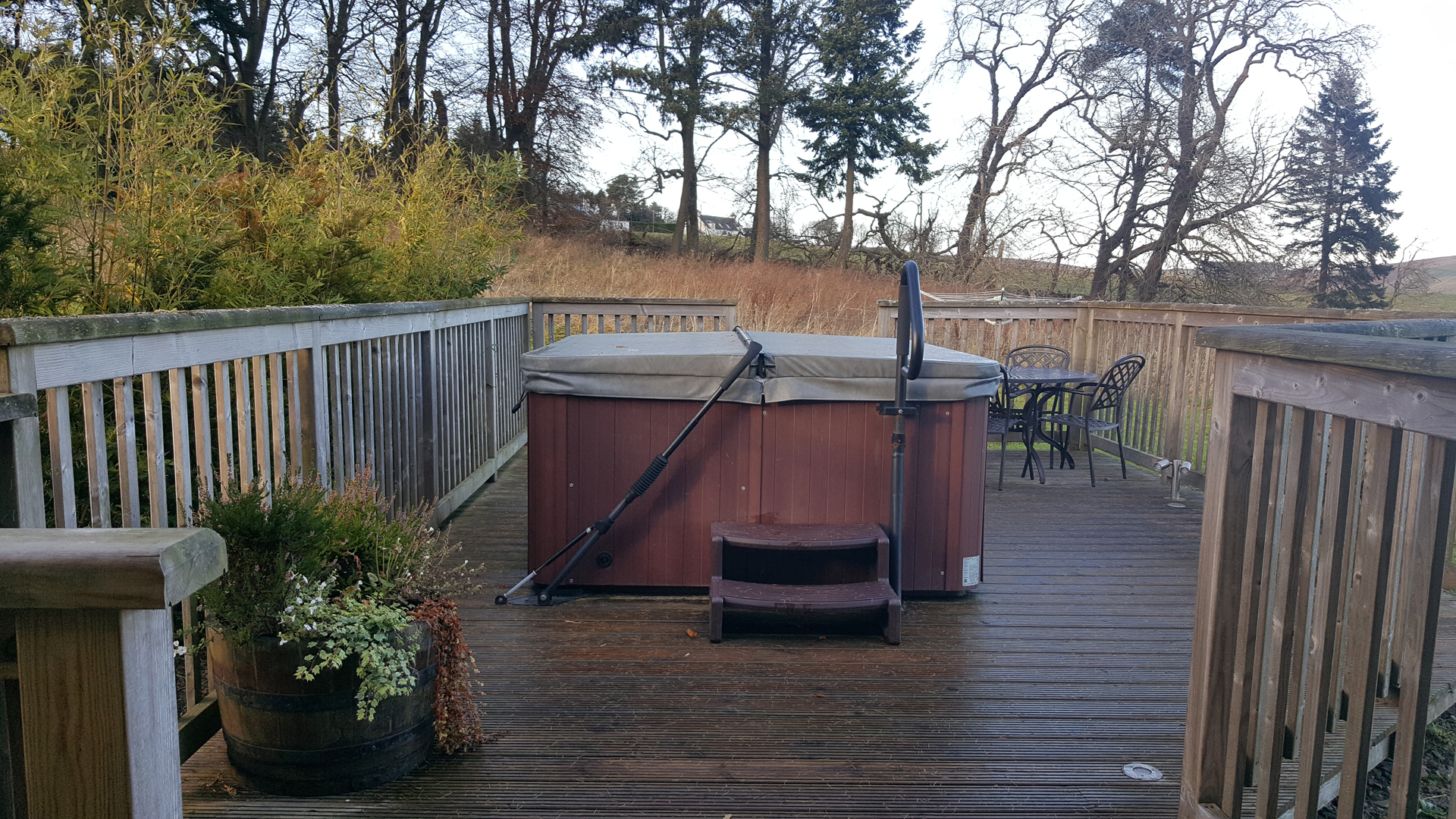 The hot tub at The Ramsay Airhouses Luxury Self Catering Lodges in Scottish Borders