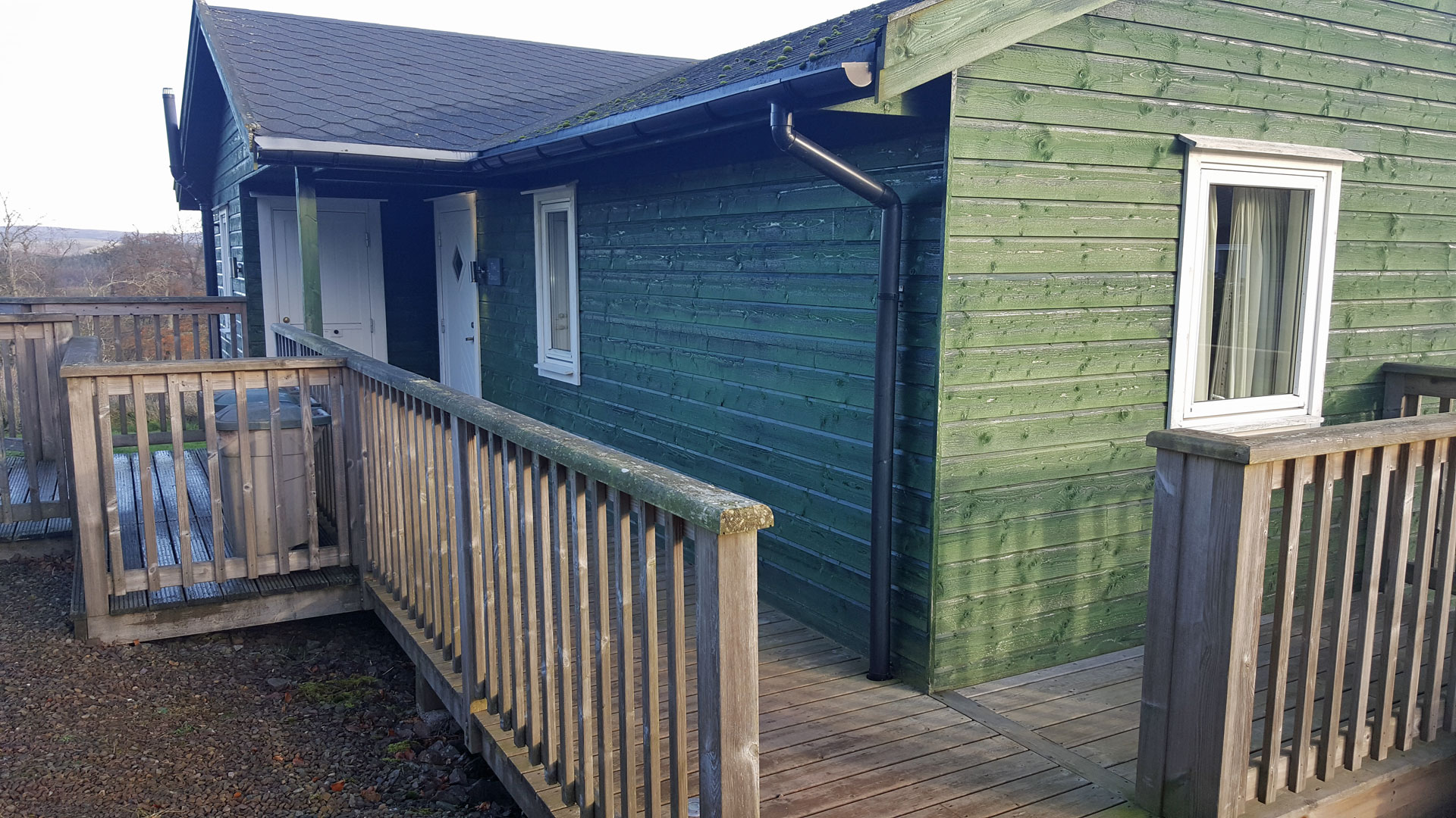 The Ramsay accessible lodge with level decking in Scottish Borders.