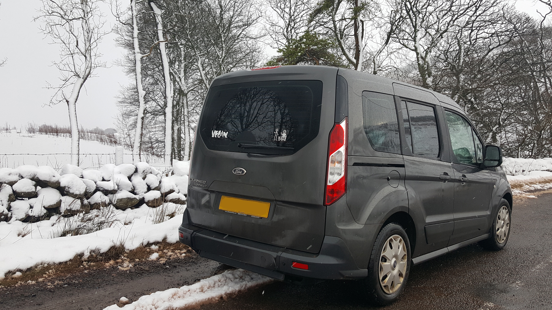 Ford Connect Freedom™ WAV parked on a snowy road surrounded by snow covered trees: 6 Top Tips How to Choose The Best Wheelchair Accessible Vehicle (WAV)