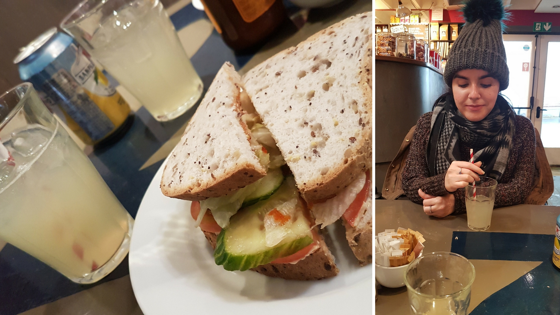 Vegan sandwich and homemade lemonade at Peerie Shop Cafe