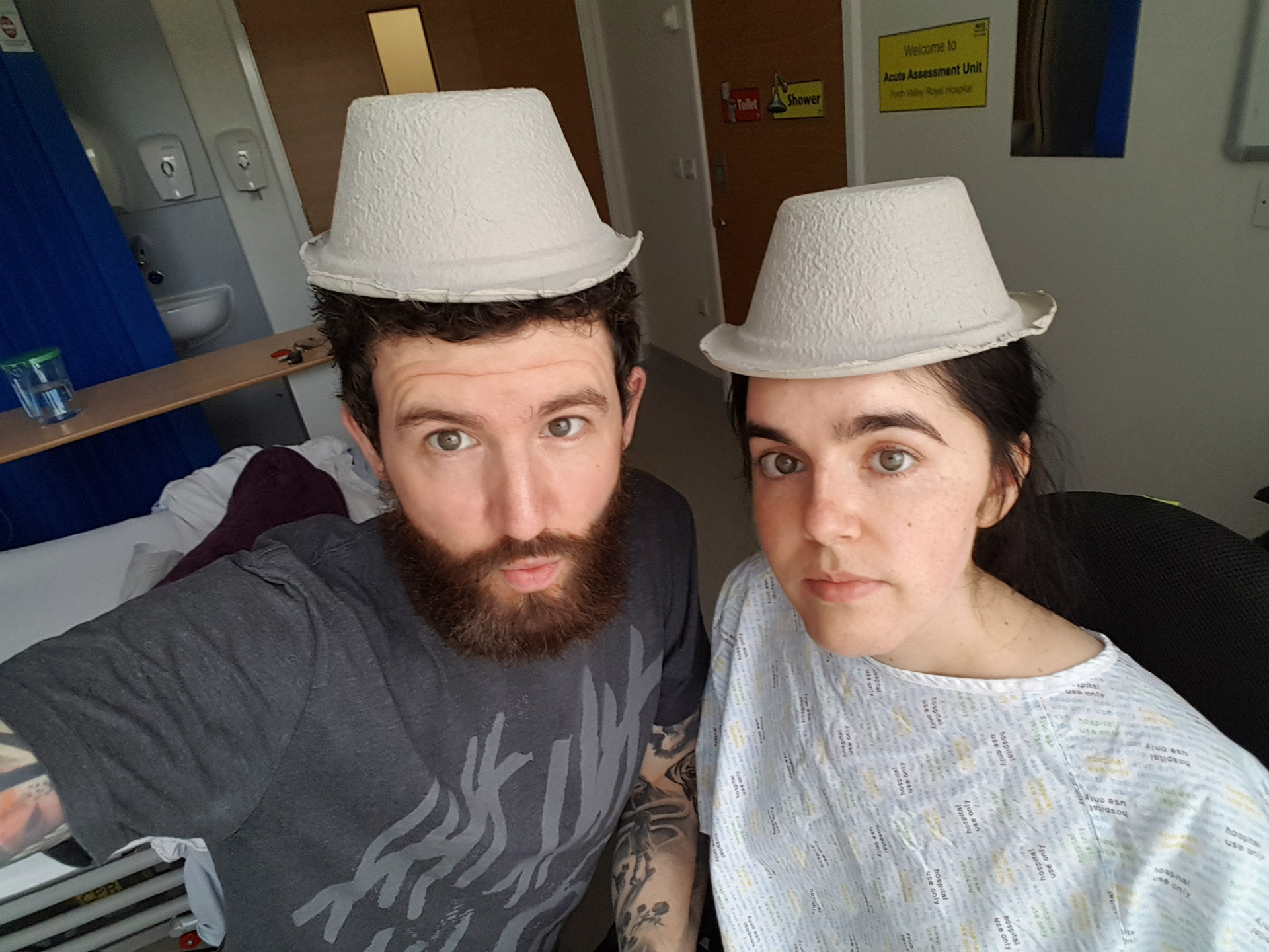 Trying to lighten the mood with urine bowls as hats. Being In Hospital Ain't Easy When You Have Muscular Dystrophy