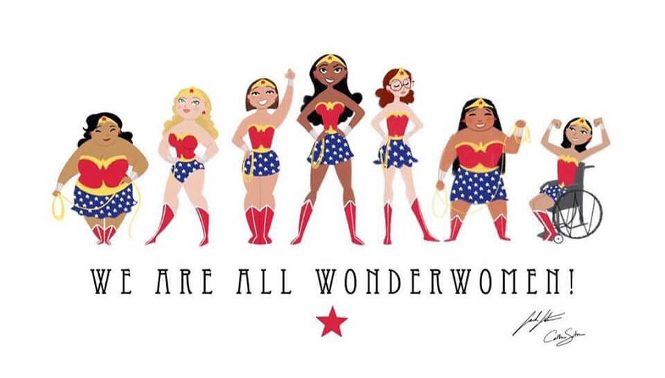 This photo shows women of all shapes, sizes, race and disability dressed as wonderwoman with the saying 'we are all wonderwomen' written underneath: