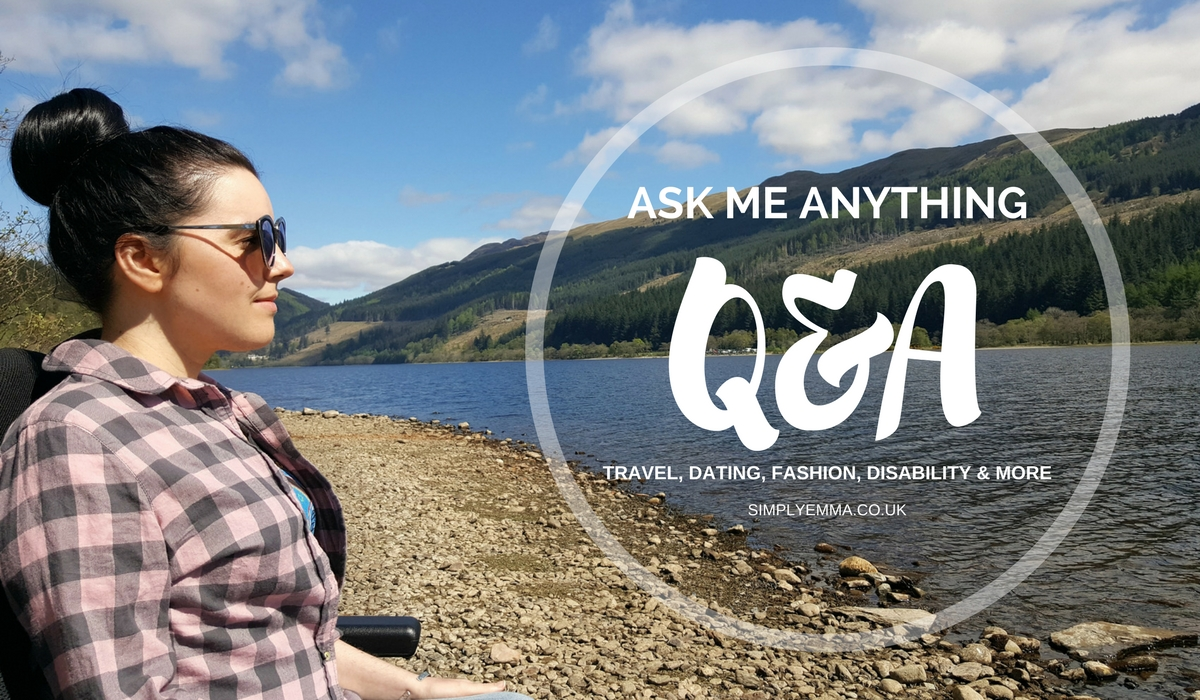 Emma sitting on the beach in her power wheelchair with text reading 'Ask Me Anything Q&A Part 1'