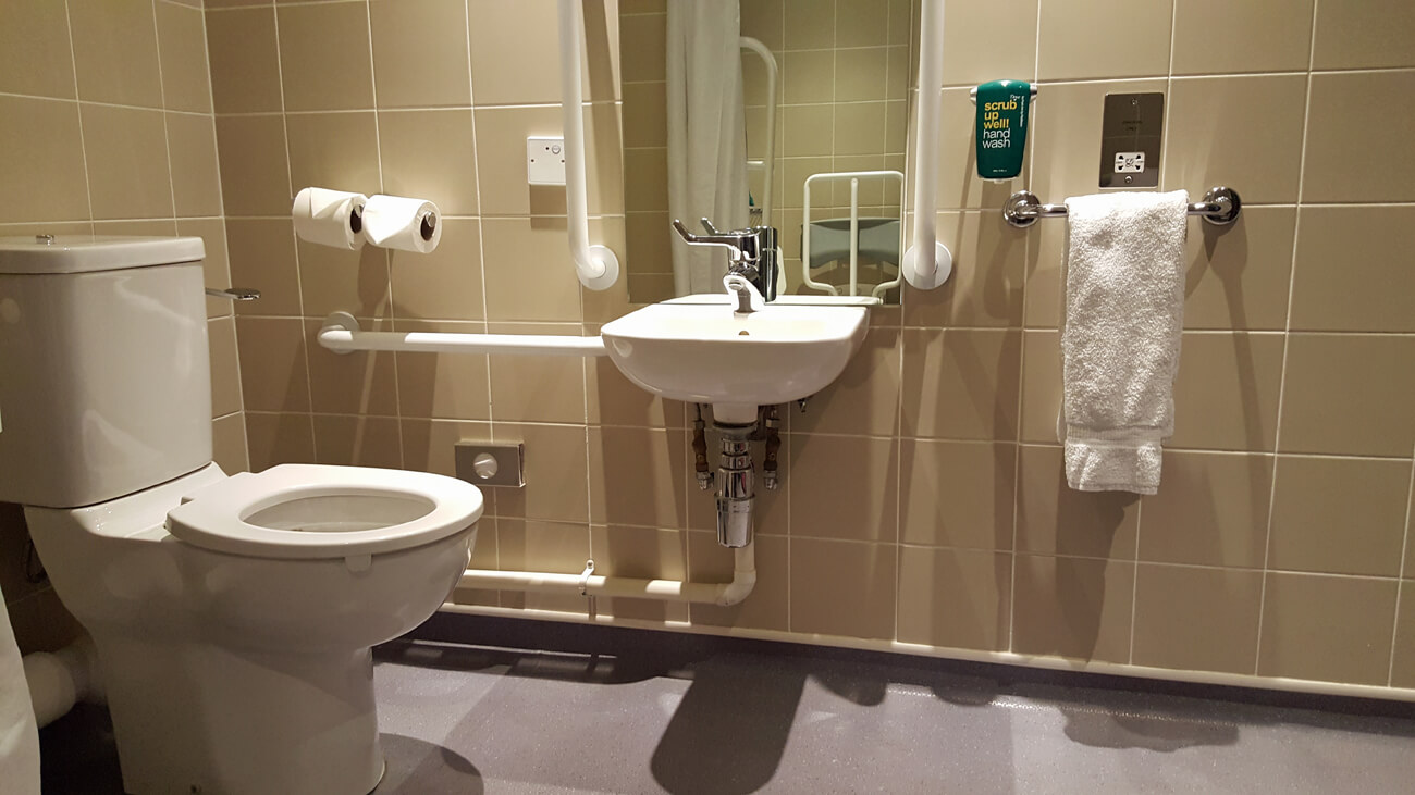 Toilet and washbasin in the accessible bathroom at Park Inn by Radisson Aberdeen