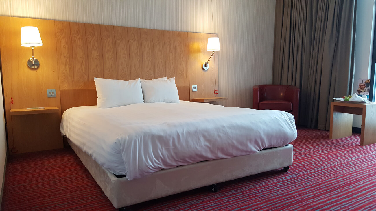 Large double bed in the accessible room at Park Inn by Radisson Aberdeen