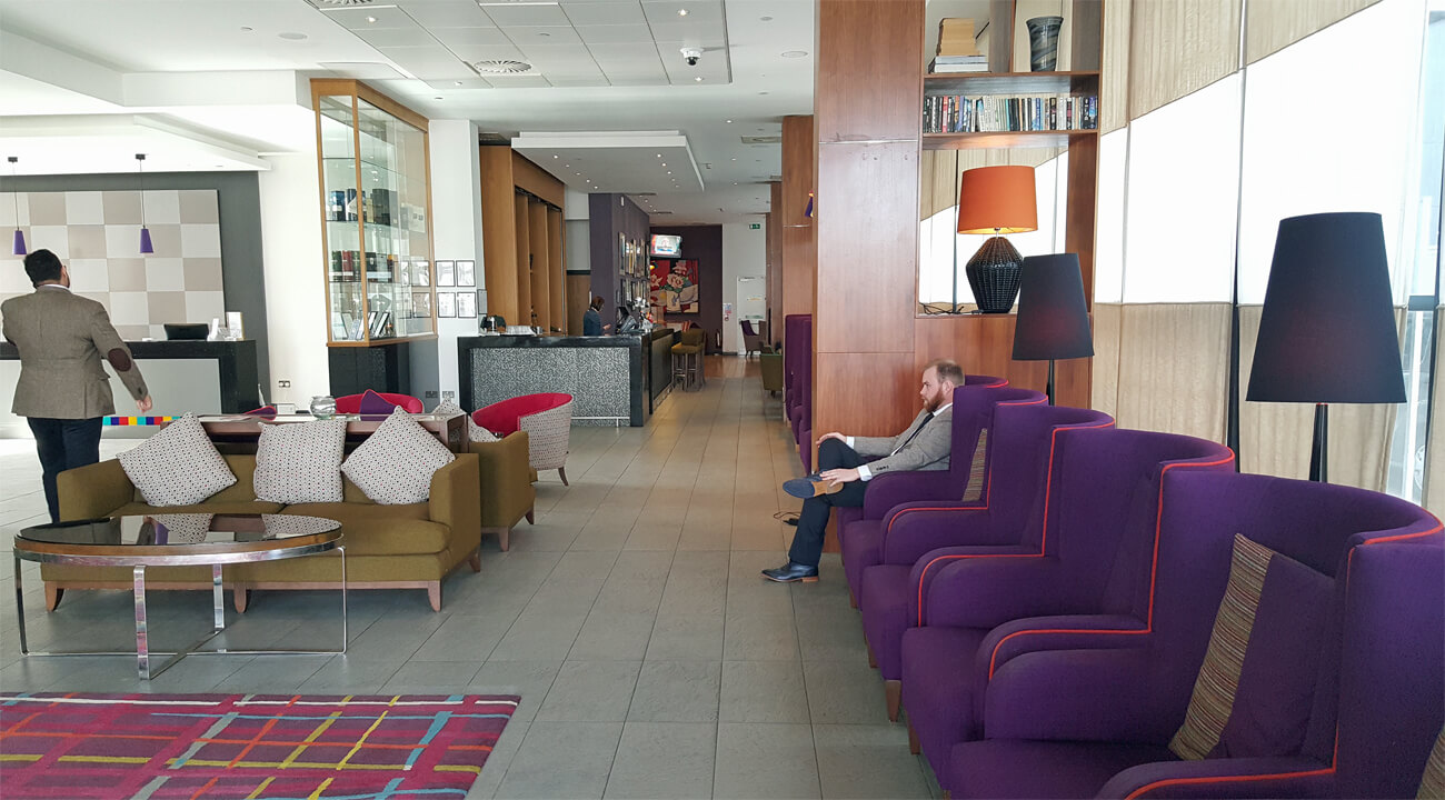 Colourful and stylish reception and lobby at Park Inn by Radisson Aberdeen