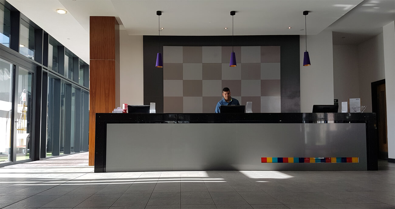 Stylish reception front desk at Park Inn by Radisson Aberdeen