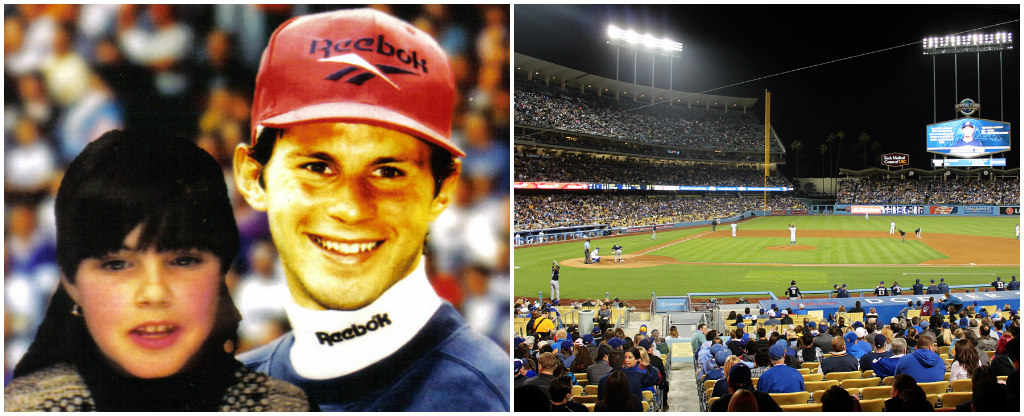 Photo grid. Photo on the left is Emma as a young girl posing next to Ryan Giggs. Photo on the right is the view Emma had from the accessible seats at LA Dodgers Baseball stadium.