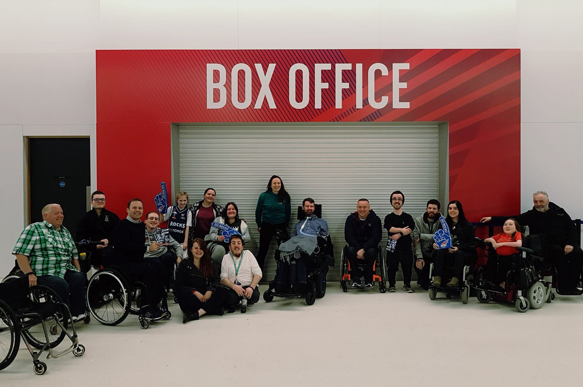 Euan's Guide Team and Ambassadors at the Glasgow Rocks Basketball Match at Emirates Arena: wheelchair access at Emirates Arena
