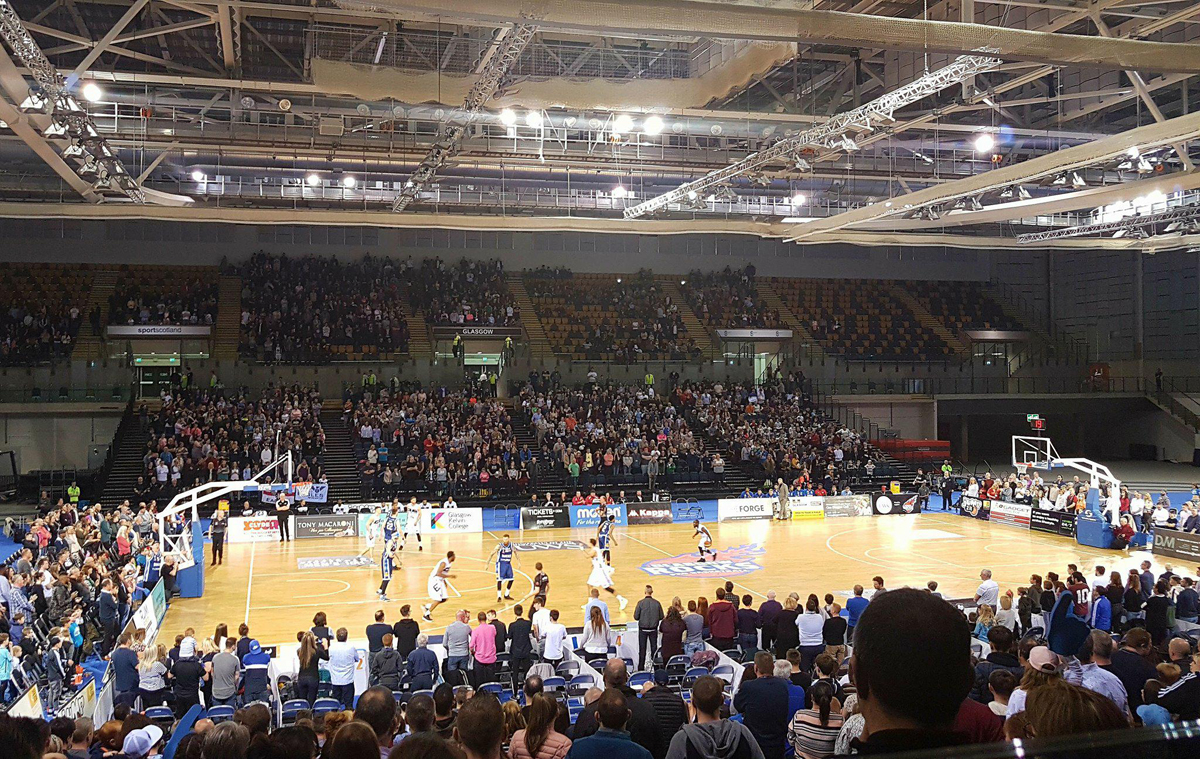 Glasgow Rocks vs Newcastle Eagles basketball players on court at Emirates Arena Glasgow: wheelchair access at Emirates Arena