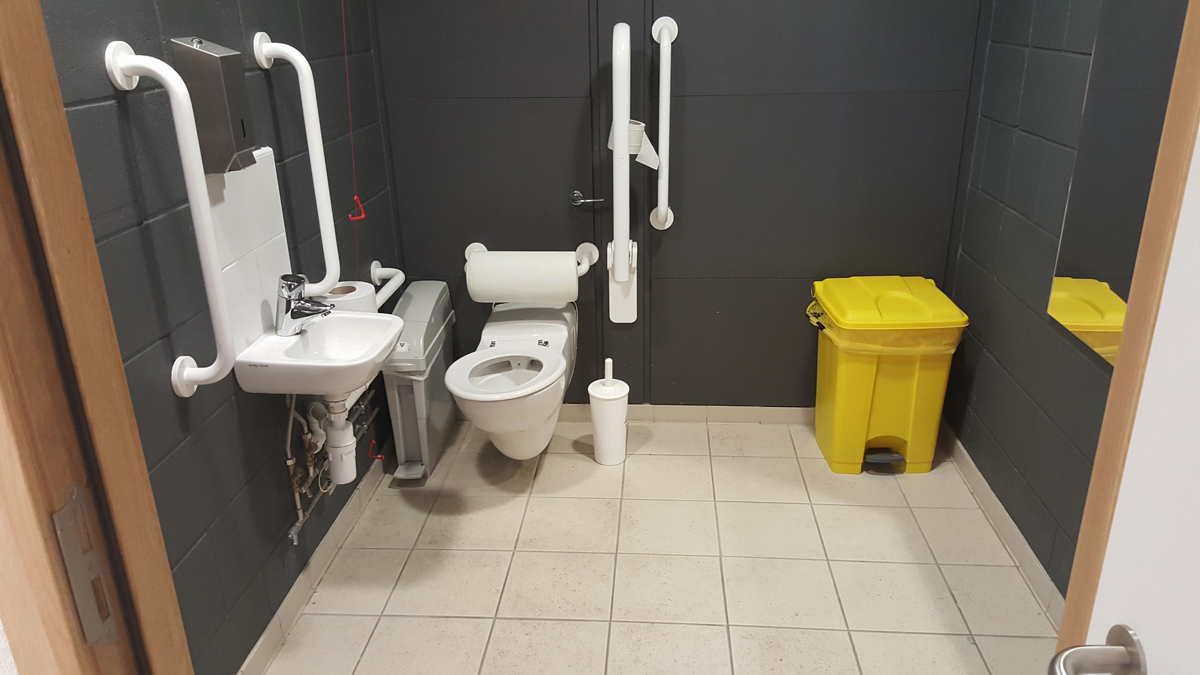 Accessible toilet at Emirates Arena basketball match: wheelchair access at Emirates Arena