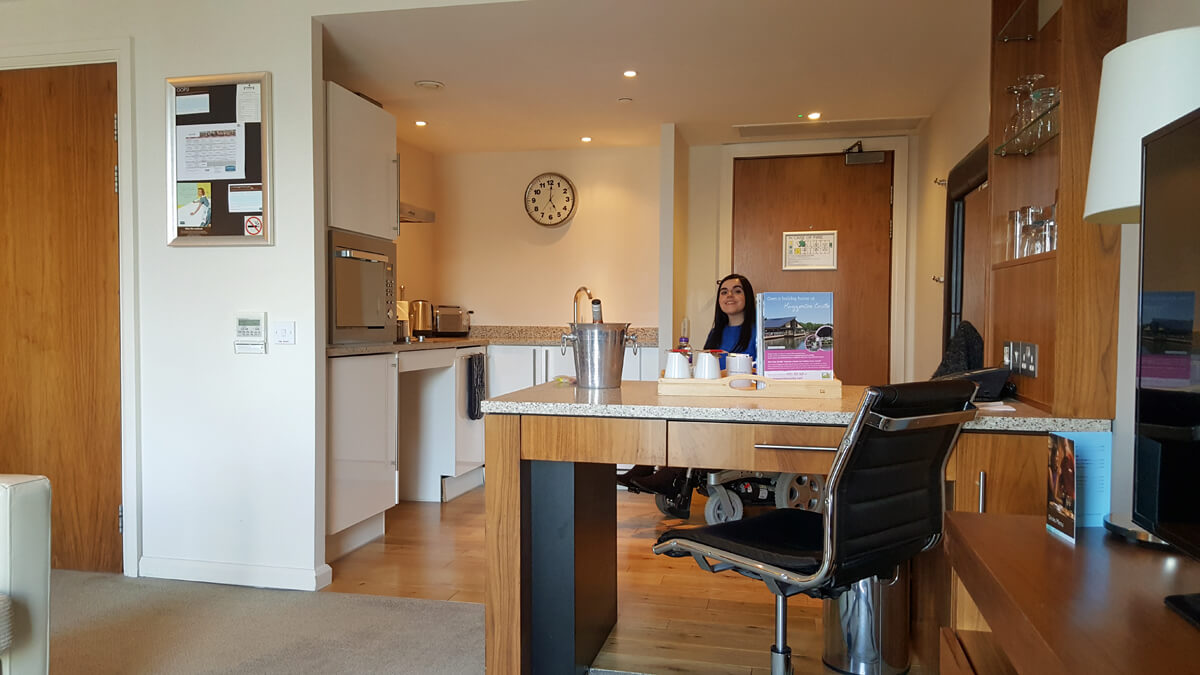 Staybridge Suites Newcastle Wheelchair access review -accessible suite fully fitted kitchen with breakfast bar