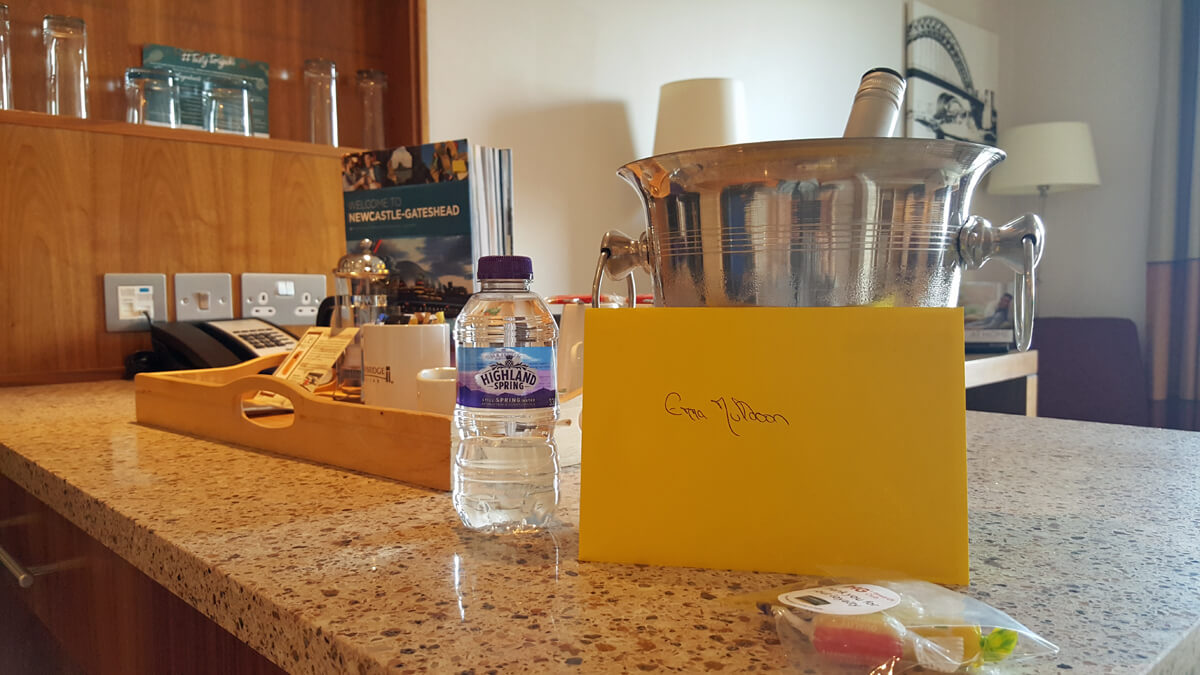 Staybridge Suites Newcastle Wheelchair access review - accessible suite with complimentary wine, sweets and Easter card