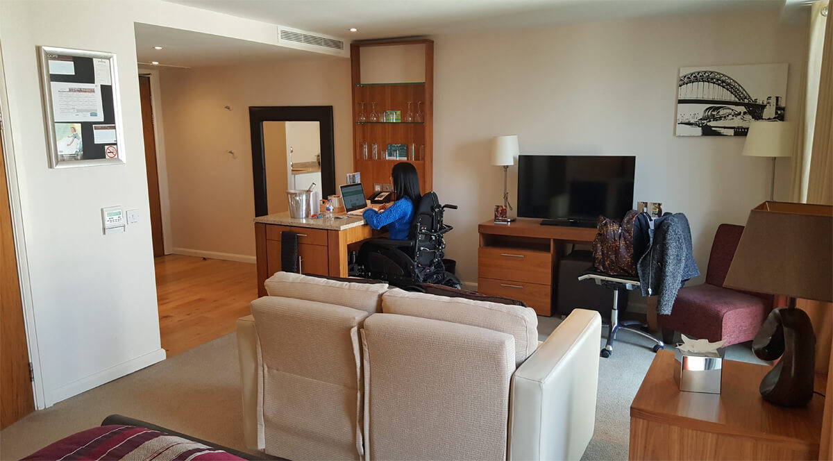 Staybridge Suites Newcastle Wheelchair access review -accessible suite with kitchen, breakfast and living area