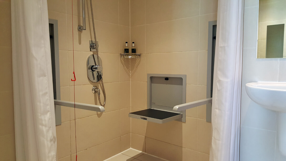 Staybridge Suites Newcastle Wheelchair access review - accessible suite with roll in shower and shower seat