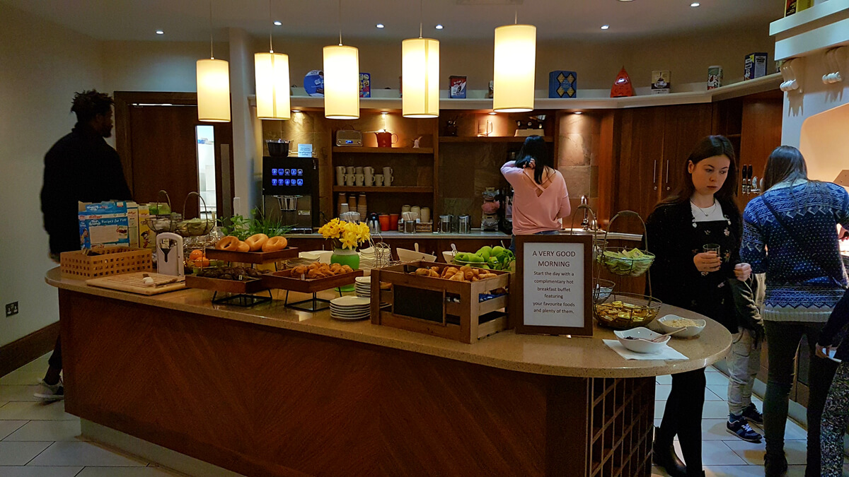 Staybridge Suites Newcastle Wheelchair access review - complimentary buffet breakfast at Staybridge Suites Newcastle