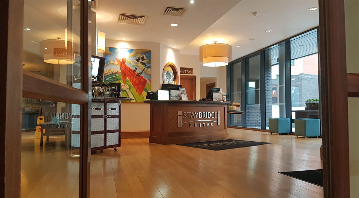 Staybridge Suites Newcastle Wheelchair access review - hotel reception area