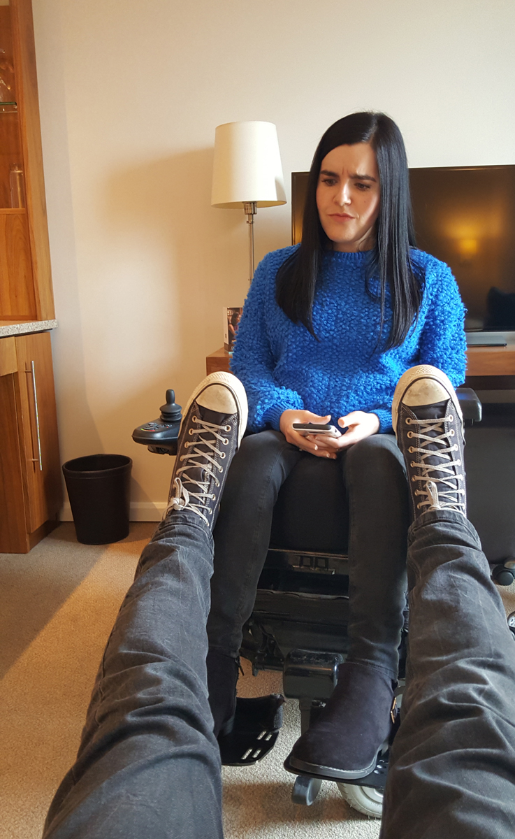 Staybridge Suites Newcastle Wheelchair access review -relaxing in our comfortable accessible suite