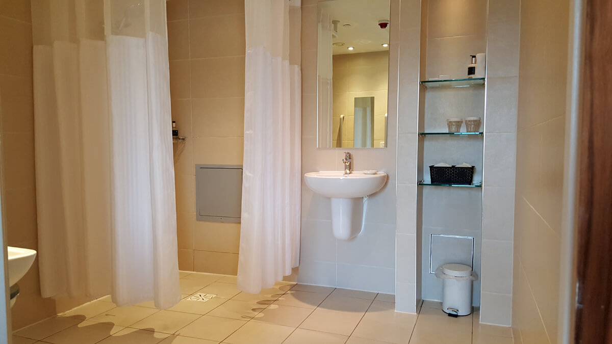 Staybridge Suites Newcastle Wheelchair access review - wheelchair accessible bathroom with roll in shower