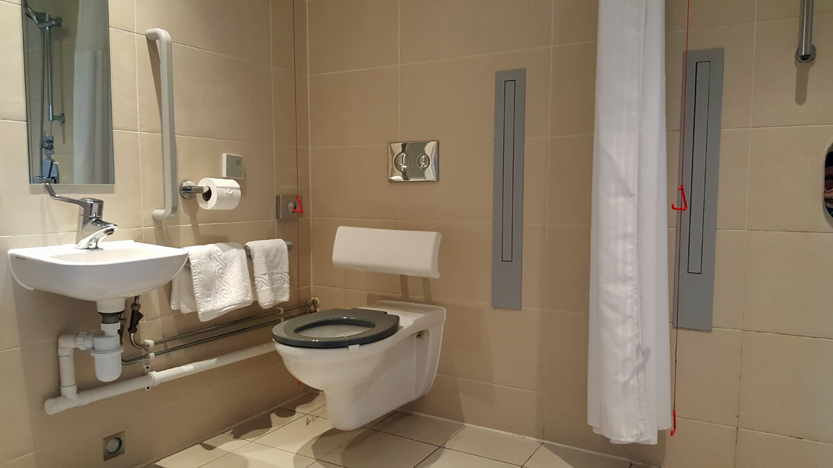 Staybridge Suites Newcastle Wheelchair access review - wheelchair accessible suite, accessible bathroom with toilet and grab rails