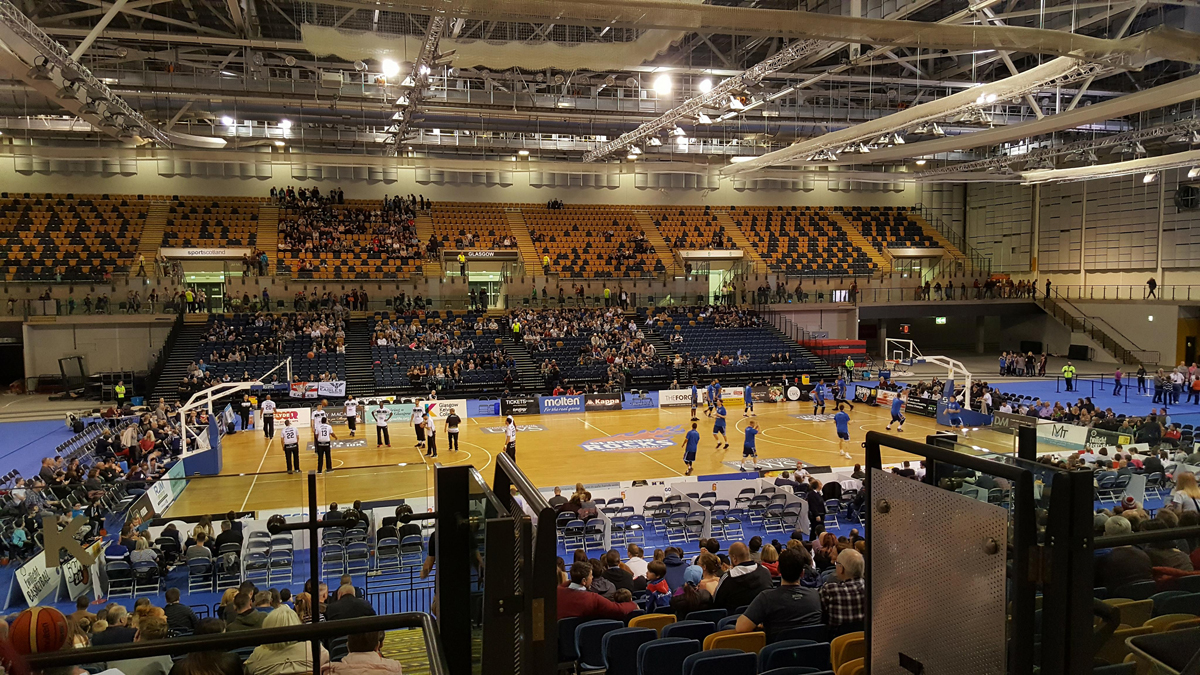 Glasgow Rocks and Newcastle Eagles on the basketball court at Emirates Arena Glasgow