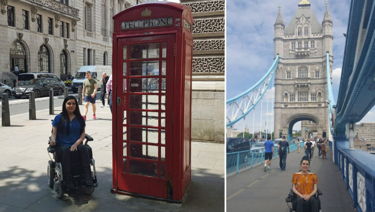 Emma posing beside a London red telephone box and infront of Tower Bridge.