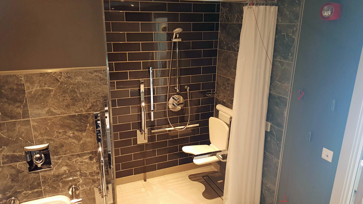 Holiday Inn Manchester City Centre Wheelchair Access Review - wheelchair accessible hotel room suite bathroom roll in shower