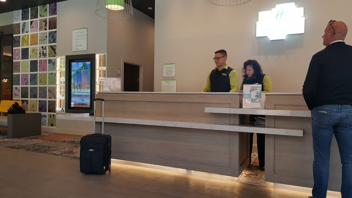 Holiday Inn Manchester City Centre Wheelchair Access Review - wheelchair accessible reception desk with lowered section