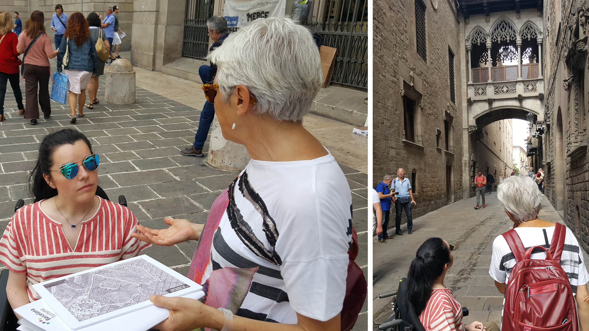 Emma enjoying a wheelchair accessible Easy Barcelona Walking Tour of the Gothic quarter with her tour guide Maria-José Anía.