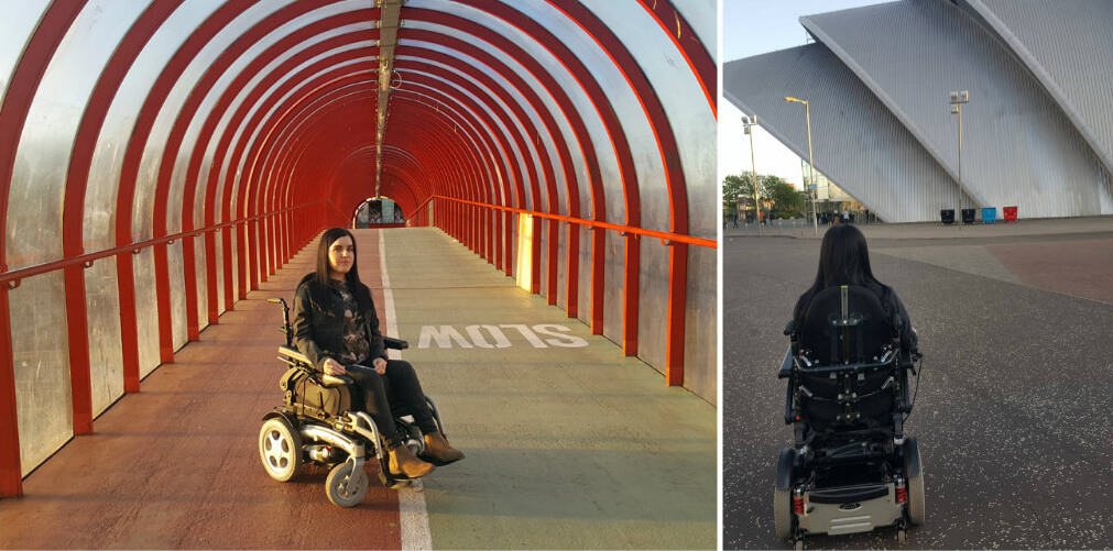 Emma making her way through the tunnel towards the SEC Armadillo Glasgow, which has wheelchair access.