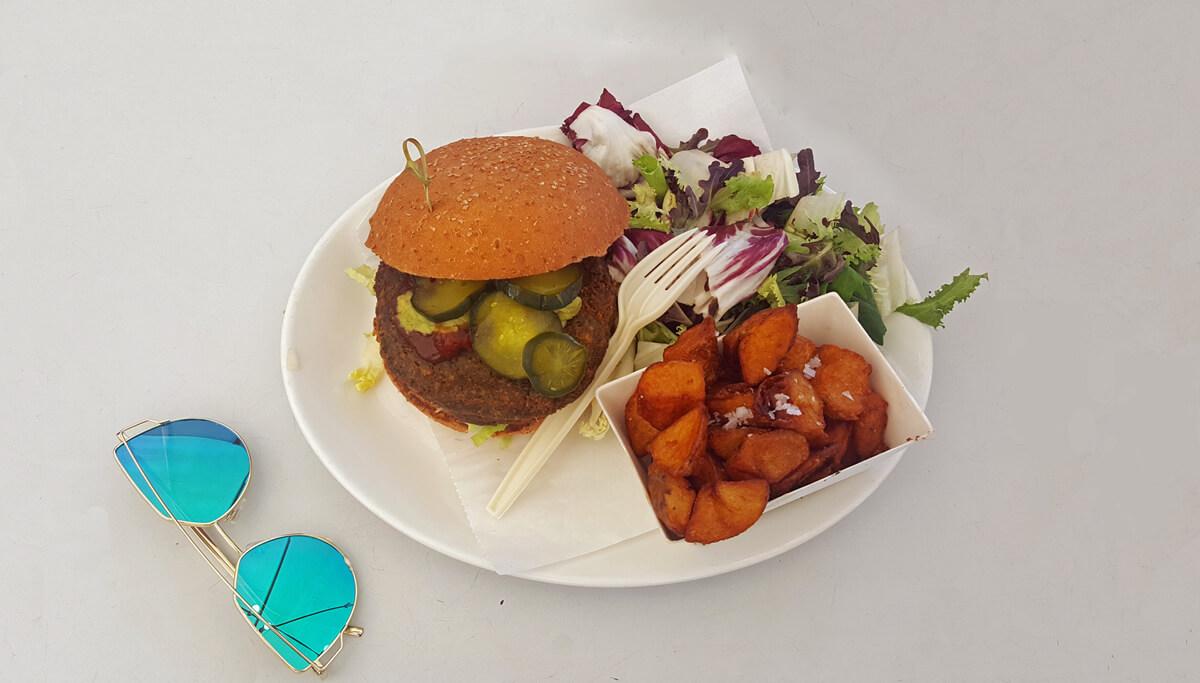The Gran Vegano burger at Bacoa Barceloneta on the beach promenade.