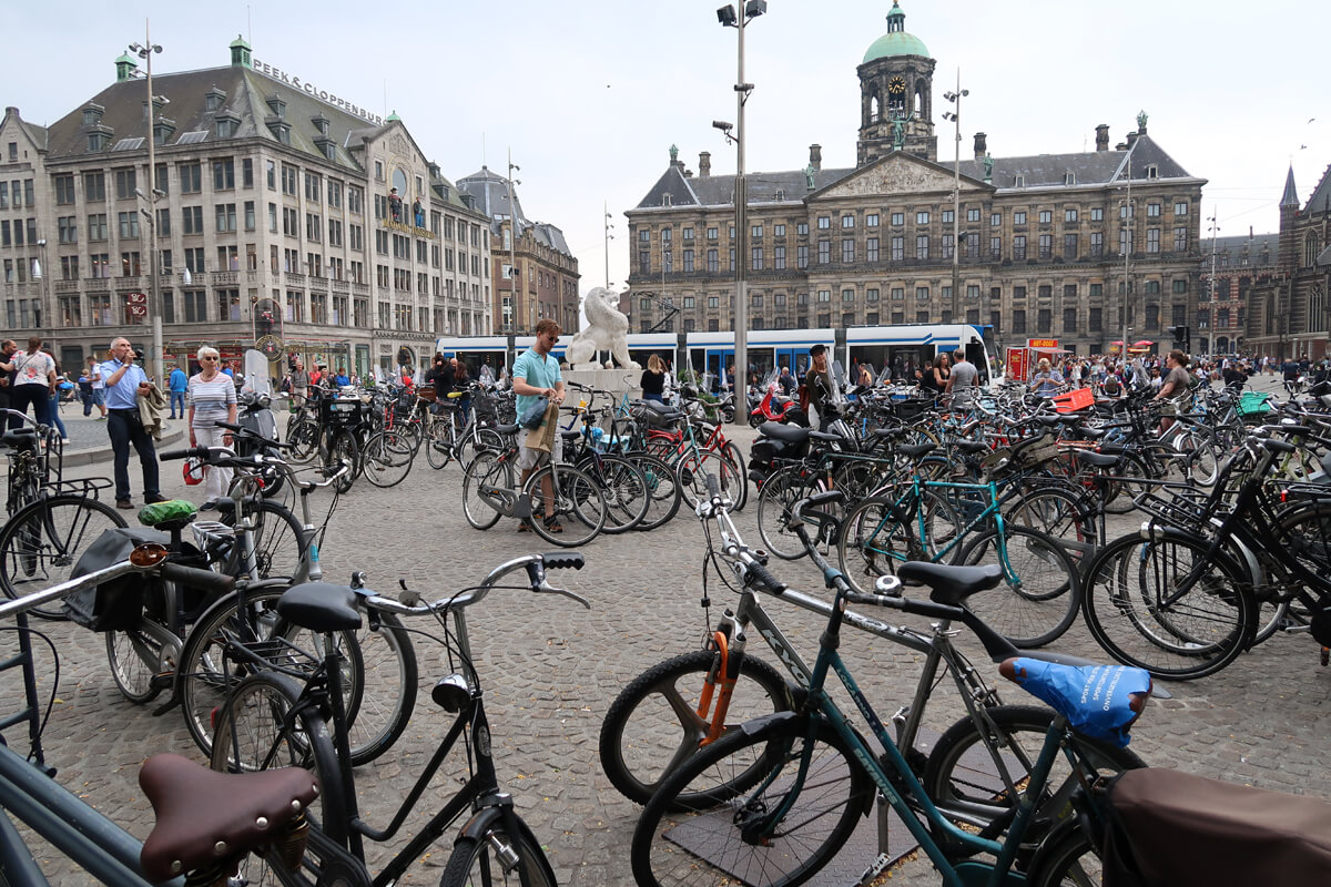 A sea of bikes in Dam Square, Amsterdam.